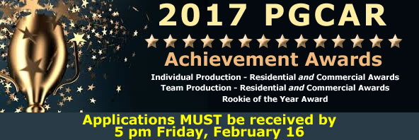 PGCAR Annual REALTOR Award Applications Must be Received by 5 pm on February 16