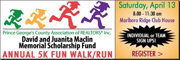 Come Raise Scholarship Money for Prince George's High School Graduates - David and Juanita Maclin Memorial Scholarship Fundraiser 5K Walk Run