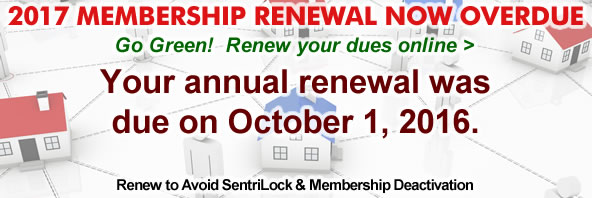 Membership renewals were due October 1. Pay by December 31 to keep SentriLock and PGCAR benefits