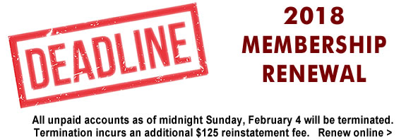 Membership renewals were due October 31. Pay by February 4 to save $125 plus SentriLock and PGCAR benefits