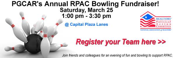 PGCAR's Annual RPAC Bowling Fundraiser! Saturday, March 25