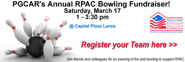PGCAR's Annual RPAC Bowling Fundraiser! Saturday, March 17