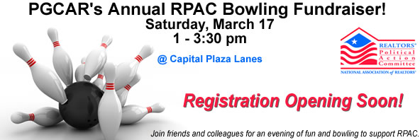 PGCAR's Annual RPAC Bowling Fundraiser! Saturday, March 17