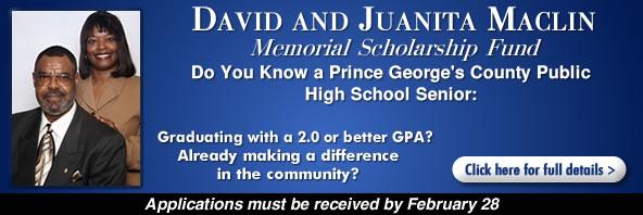 David and Juanita Maclin Memorial $2,500 Scholarship