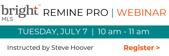 10 am May 12 Bright MLS Remine Pro free webinar - click to register