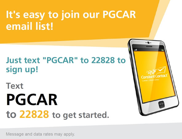 Text PGCAR to 22828 to join our email list!