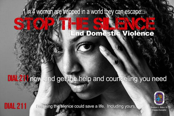 Stop the Silence, End Domestic Violence, Dial 211 for help